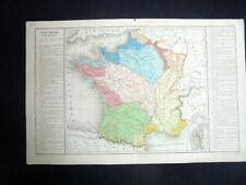 OLD MAP: Th. LEBRUN & A. LE BEALLE~ca 1860~FRANCE PHYSIQUE~FRANCE PHYSICS