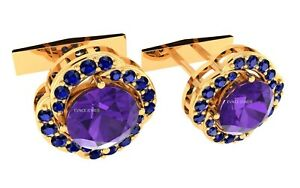 Natural Amethyst And Sapphire Gemstone Men Cufflink 925 Sterling Silver Jewelry