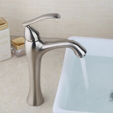 Waterfall Tall Spout Bathroom Basin Faucet Nickel Brushed Vanity Sink Mixer Taps