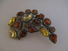 Vintage Chunky Fall Colors Faceted Beads Brooch 1016