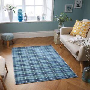 Cottage Blue Tartan Checked Anti-Slip Rug Runner Doormat Flatweave Country
