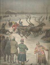 K0569 Svezia - Corsa con slitte chiamate akja trainate da renne - Stampa antica