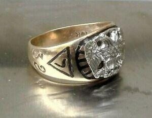 Antique Women's Scottish Rite 32nd Degree 10k Gold Mason Ring Enamel Cross