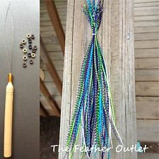 Feathers Hair Extensions Kit Lot 20 Grizzly XLTurquoise Purple Blue Long MER KIT