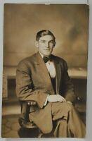 RPPC Handsome Young Man Seated Studio Real Photo Postcard O10
