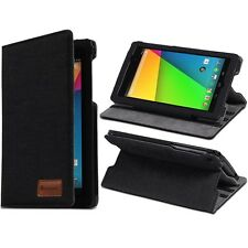 Google Nexus 7 2nd Gen 2013 Black Denim Jeans Style Fabric Stand Case Cover Skin