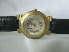 Guess Watch Round Mother of Pearl Black Band Gold Toned Elegant Modern WORKING!