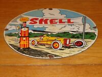 "VINTAGE SHELL RACE CAR & VISIBLE GASOLINE PUMP 11 3/4"" PORCELAIN METAL OIL SIGN!"