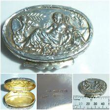 Victorian style Sterling Silver Snuff Box Pill Box Cherubs Angels repoussé
