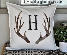 Personalized pillow cover. Custom last name initial. Deer hunting pillow case