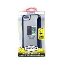 GRIFFIN CASE FOR IPHONE 7 6S 6 SURVIVOR CLEAR WALLET CARD ID CASH SLOT GB42779