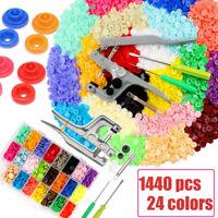 360 Sets KAM Snap Kit T5 Plastic Snaps Fastener Buttons Press Stud w/ Plier