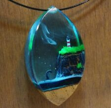 Crystal pendant Resin necklace resin wood pendant magic epoxy resin pendant