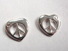 Heart Peace Sign Stud Earrings with Tiny Pink CZ 925 Sterling Silver Post New
