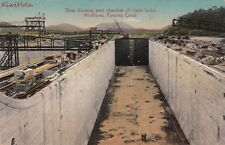 Postcard View Showing West Chamber Lower Locks Miraflores Panama Canal