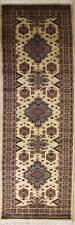 Rugstc 2.5x10 Caucasian Design White Runner Rug, Hand-Knotted,Geometric,Wool