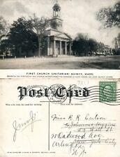 QUINCY MA FIRST CHURCH UNITARIAN 1917 ANTIQUE POSTCARD