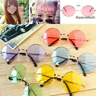 Unisex Women Men Retro Round Glasses Colorful Lens Sunglasses Eyewear Frame