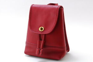 【Rank  B】Auth Coach Vintage  Leather Daypack Backpack Turnlock From Japan A023