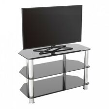 "TV Stand Modern Black Glass Unit for up to 42"" inch HD LCD LED Curved TVs - 80cm"