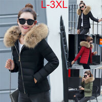 Women Girl Winter Down Cotton Parka Short Fur Collar Hooded Coat Quilted Jacket