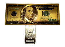 1 TROY OUNCE .999 FINE SILVER BULLION MORGAN BAR BU +1 99.9% 24K GOLD $100 BILL