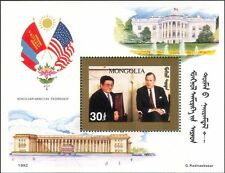 Mongolia 1992 USA Friendship/President George Bush/Flags 1v m/s GOLD (n21738)