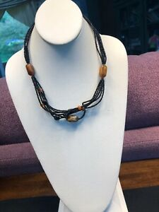 """Vintage Bohemian Six strand seed bead and gold bead necklace 18"""""""