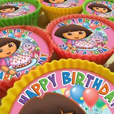 DORA THE EXPLORER PERSONALISED CUPCAKE TOPPERS 12 PRE-CUT EDIBLE IMAGES