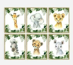 Jungle African Animal Nursery Prints, Tropical Foliage Wall Art Set of 6 630-A