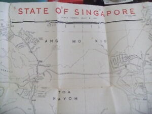 Map of State of Singapore 60s fold able by Malaysian Mapping 4ft