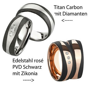 Ring Partnerringe Verlobungsringe Ehering + Diamant Titan/Carbon oder Edelstahl