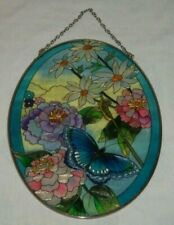 AMIA Stained Glass Style Suncatcher Butterfly Flowers Floral Ornament Oval