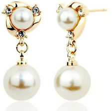 Hypoallergenic Gold Colour Pearl Rhinestone Lovely Drop Stud Earrings UK SELLER