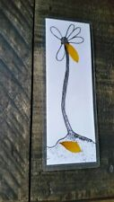 Bookmark Handmade Sun Flower Petal Black White Marker Art Design Book Mark Arts