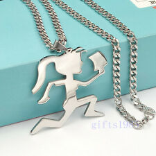 LARGE HIPHOP SILVER HATCHET GIRL STAINLESS STEEL PENDANT CUBAN CHAIN Juggalette