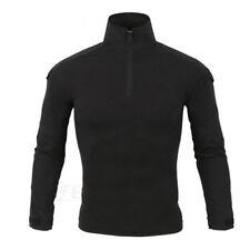 Men Military Combat Long Sleeve 1/4 Zip Pullover Tees Army Camo Tactical T Shirt Black L