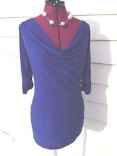 Ella Moss - Blue - Bat Wing Sleeves - Small S - Drape Collar