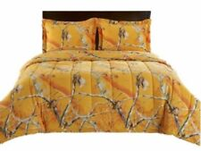 Real Tree Orange Camouflage Full Comforter Set with Shams Camo