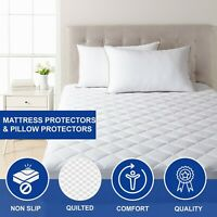 Quilted Mattress Protector Single Double King Size Cover Non Slip Pillow Protect