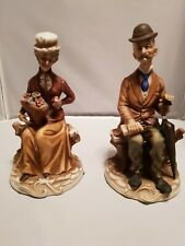 """Vintage Porcelain Napco Ware Victorian Old Man And Woman 8"""" Figurine"""