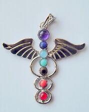 Lot de 4 pendentifs 7 chakras angel en métal argenté