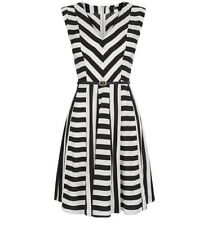 Oasis UK Size 8 Multi Black White Asymmetric Striped Sleeveless Skater Dress