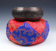Tibetan LARGE Silk Dragon Flowers Pillow Cushion Stand Easel For Singing Bowl #2
