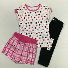 Jumping Beans NWT Girl Size 5 3 Piece Outfit Set Capri Leggings Shorts Top Dots