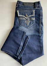 Buckle Rock Revival Jeans Boot Cut Thick Stitching Flap Pockets  Posey Blue