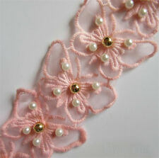 Wholesale 13yards/lot Pink Pearl Butterfly Lace Edge Trim Ribbon Sewing Craft