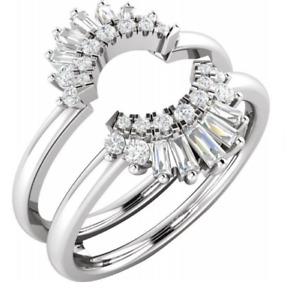 Gatsby Enhancer Ring Guard 14k White Gold, Ballerina Wraps For ring Cluster band