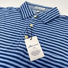 Peter Millar Seaside SPLSH Blue Striped Short Sleeve Golf Polo Shirt New