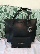 UK PRISTINE MICHAEL KORS JET SET TOTE WITH MATCHING PURSE BLACK LEATHER DUST BAG